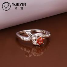 2014 NEW Rhinestone Austrians Crystals Imitation Diamond Ruby Red Gemstone Flower Fashion Ring Jewelry for Women