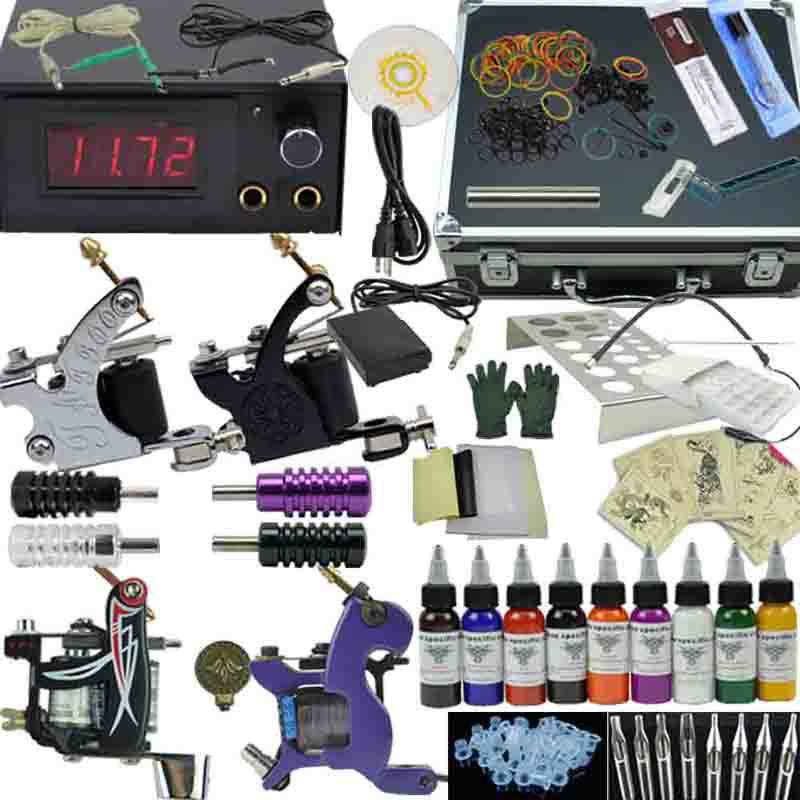 OPHIR Professional 4 Machine Tattoo Kits Motor Guns Set 9 Colour Tattoo Ink, Pigment with Aluminum Box#TA007