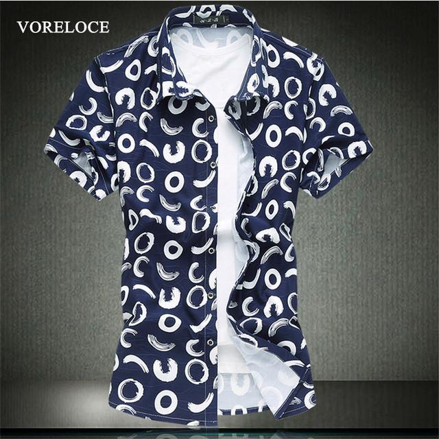 2016 новый мужской рубашка с короткими рукавами Мода геометрические цветочные хлопчатобумажную ...