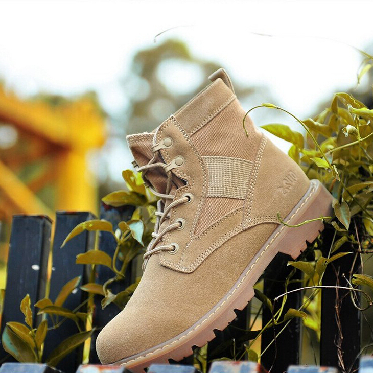 Wholesale! Z.Suo 2015 Autumn Winter Men's Work Boots Handmade Genuine Leather Mid-Calf Army Boots Desert Boots Western Boots 158(China (Mainland))