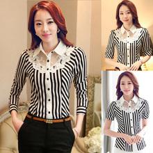 Professional Women Work Spring Fall Summer 2016 New Long-Sleeve Collar Shirt Slim Stretch Shirt Lace Stripe Formal Blouse Shirts(China (Mainland))