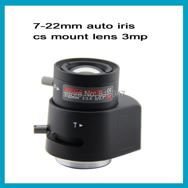 "7-22mm CCTV lens for security cameras, 3mega pixel lens cs mount f1.4 1/2.7"", Auto iris lens(China (Mainland))"