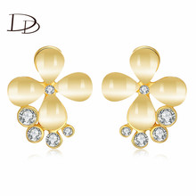 flower plant design stud earrings fashion jewelry for women romantic style crystal opal wedding engagement  accessories HNE0264(China (Mainland))