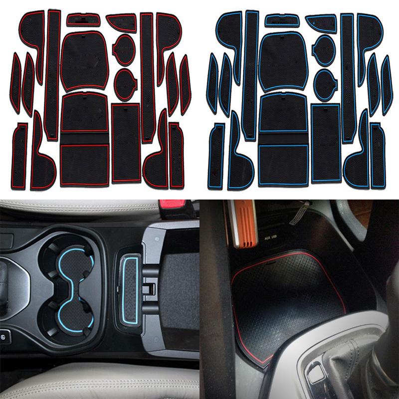 New Car Styling 19Pcs/Lot For Hyundai Santa fe 2013 2014 2015 LHD Latex Waterproof Anti Slip Gate Slot Mats Pad(China (Mainland))