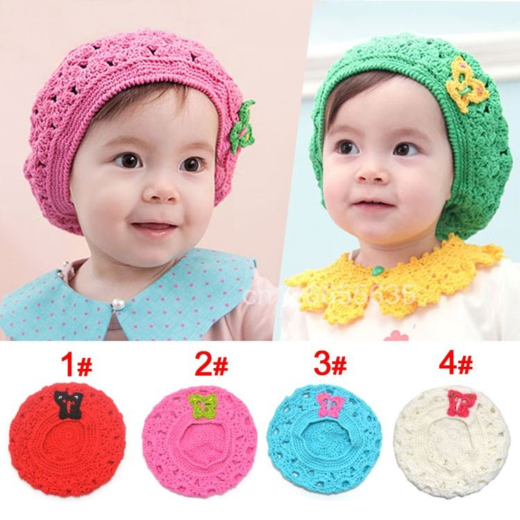 The Newest Free Shipping 100% Handmade Crochet Baby Hat Baby Knitted Beret For 6-18 Months Mix 4 Colors<br><br>Aliexpress