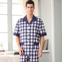 2016 New Nightwear Geometric Summer Men Pajama Sets 100% Cotton Short-sleeved Pyjamas Male Sleepwear Casual Soft Homewear A5035(China (Mainland))