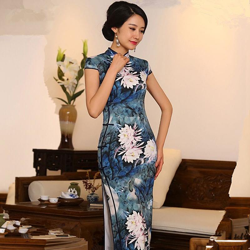 Elegante Venta Caliente de Las Mujeres Chinas de Satén Cheongsam Tradicional Estilo Largo Vestido Qipao Vestido Tamaño de la Ropa Sml XL XXL 342551(China (Mainland))
