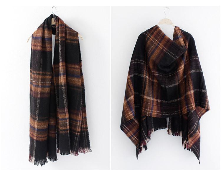Fashion large lattice winter warm imitation cashmere shawl scarf with dual-use ladies clothing