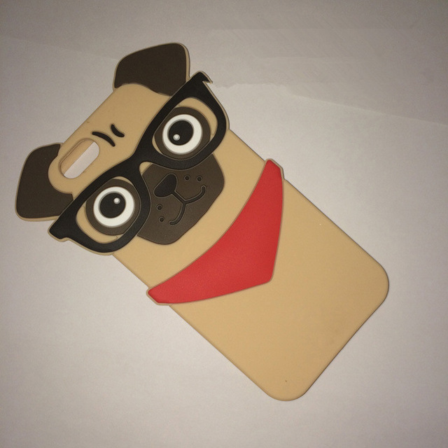 Fashion 3D Pug Dog With Glasses Design Protective Silicone Shell Cover For APPLE iPhone 5 5s 6 6s Cute Cartoon Doggy Phone Cases(China (Mainland))
