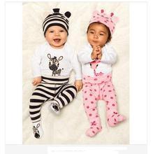 2015 Hot Newborn Carters Baby Girl Clothing Set Romper Hat Pants 3 pcs Infant Baby Boys