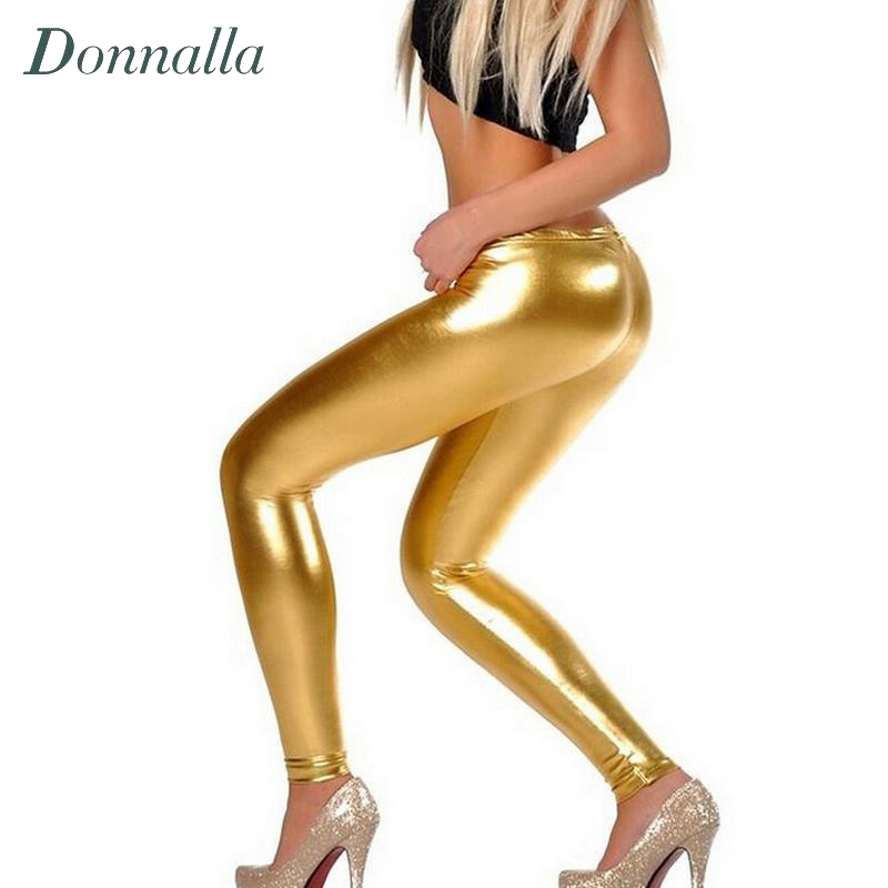 Women Sexy Leggings Stretch PU Leather Pants Gold Bright Leather Shiny Leggings For Women Juniors Pants Fashion High Street Wear(China (Mainland))