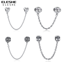 Buy ELESHE Authentic 925 Sterling Silver Daisy Bow Heart Safety Chain Charm Beads Fit Original Pandora Charm Bracelet Jewelry Making for $9.41 in AliExpress store