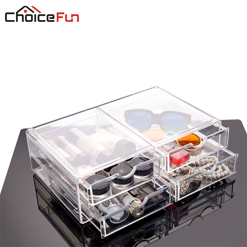 CHOICEFUN 2016 Acrylic Drawer organizer for cosmetics makeup container plastic box makeup organizer tool box SF-2174-4(China (Mainland))