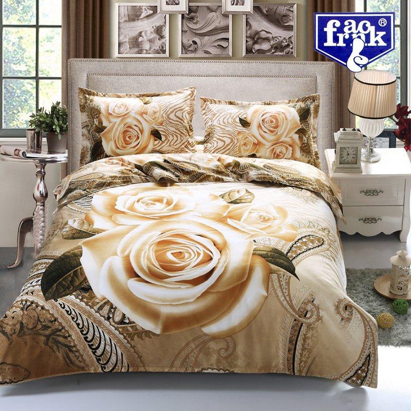 New arrival 3D bedding set bed linen Gold Rose Flower  bedding-set 4 pcs quilt /bed sheets / pillowcases F-wqx013(China (Mainland))
