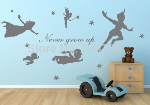 Cute Cartoon figure Peter Pan Never grow up tinkerbell removable wall decal art mural wall stickers kids home decoration(China (Mainland))