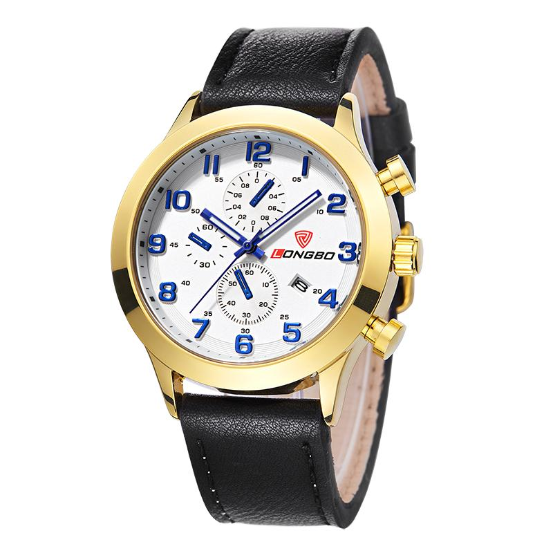 LONGBO Luxury Men Genuine Leather Watch Sports Quartz Watches For Man Male Leisure Clock Simple Watches Relogio Masculino 80209