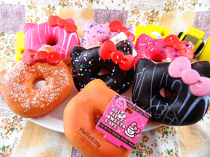 10 cm jumbo hello kitty donut squishy Cell Phone strap Charm squishies buns good quality with ...
