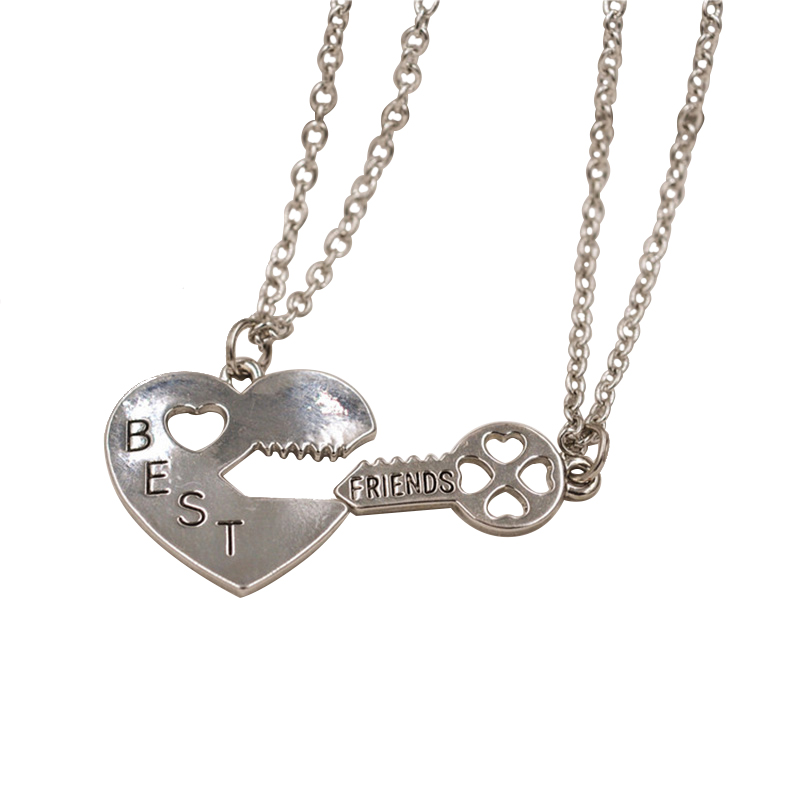 Puzzle Vintage pendant necklace best friends key and heart jewelry charms necklaces couple friendship 2 pcs N25(China (Mainland))