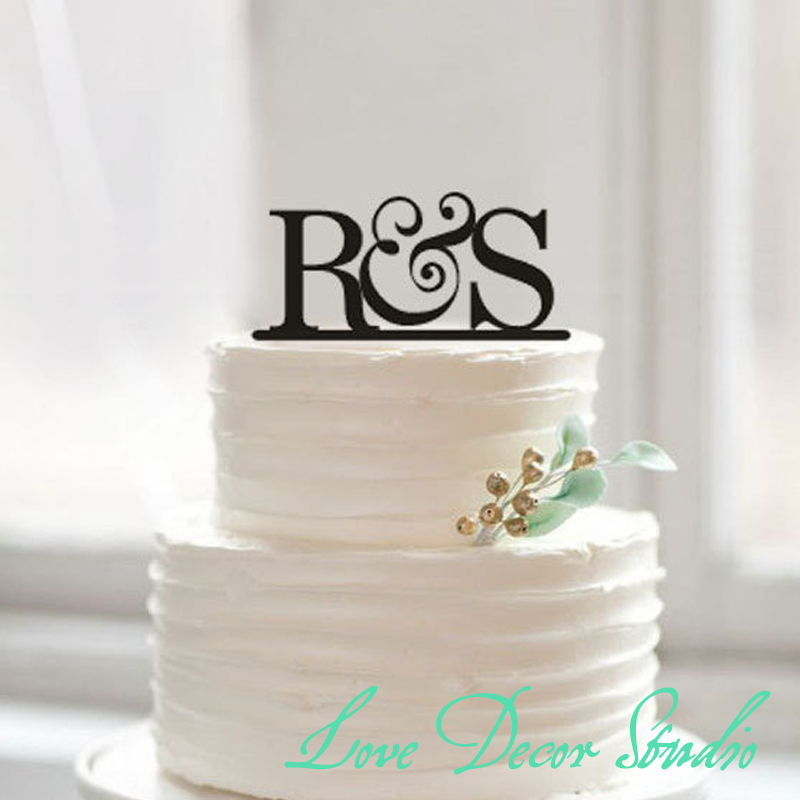 Wedding Cake Toppers Letters Black : cake topperbride and groom initial cake topper wedding ...