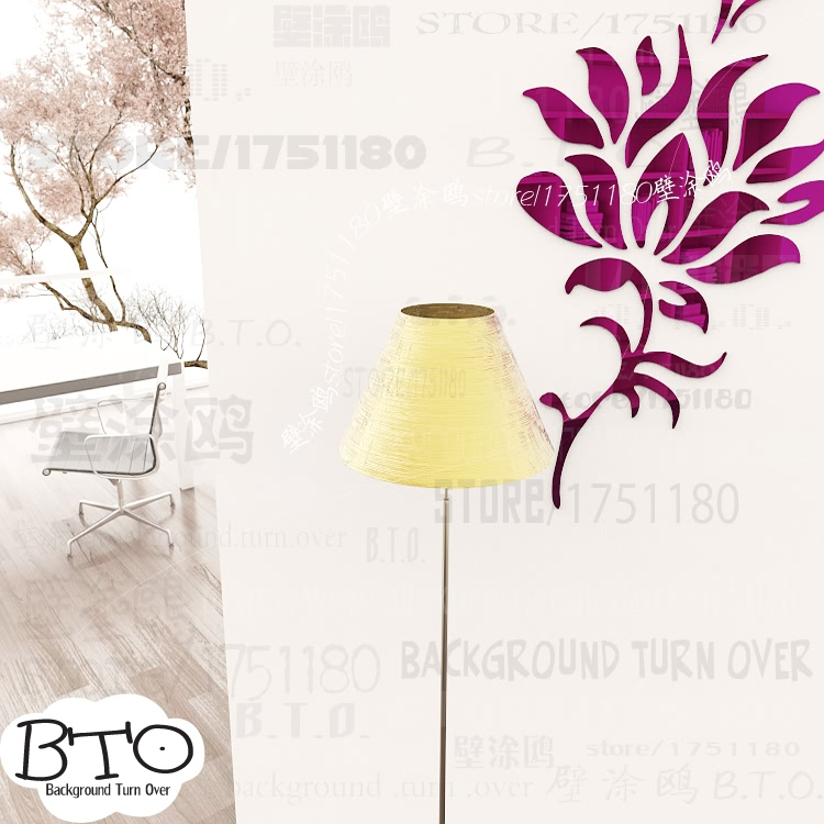 DIY spring nature elegant single lotus flower wall sticker mirror bedroom decor 3d wall decoration home adhesive to wall R186
