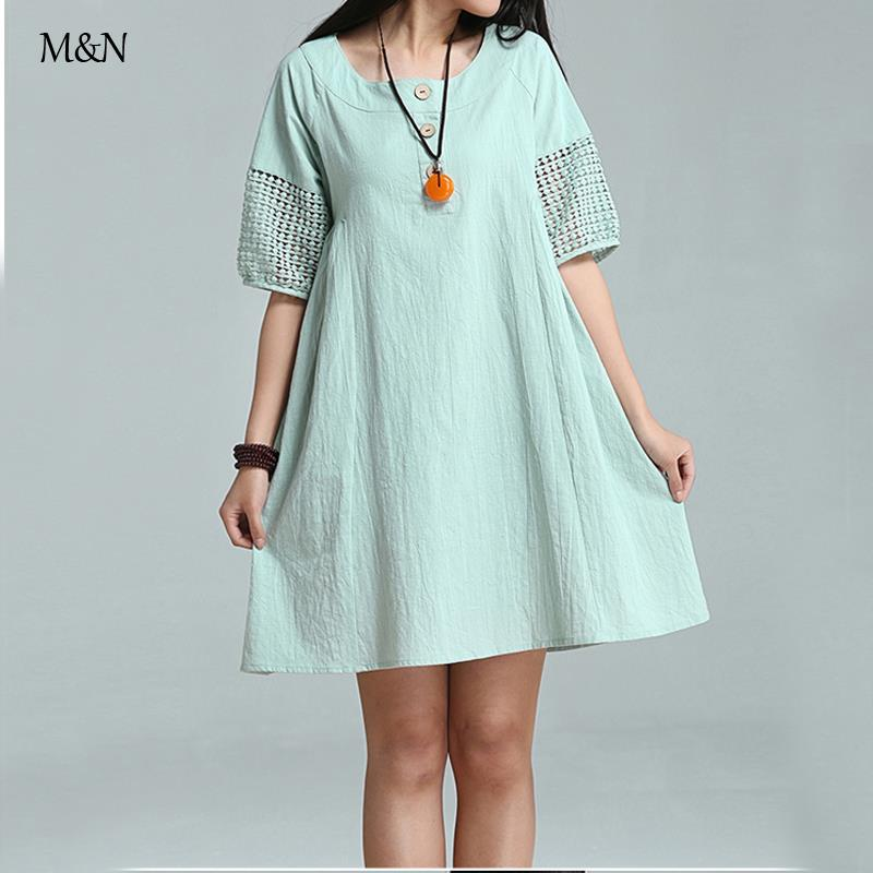 Lantern Sleeve Body Dress Linen Cotton High Waist Hollow Out Casual Vestidoes Gowns Pullover french Clothes mini dresses(China (Mainland))