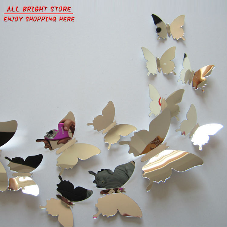 flying butterfly free shipping children's room mirror wall sticker home decoration 12 pcs / lot plastic mirror home decor(China (Mainland))