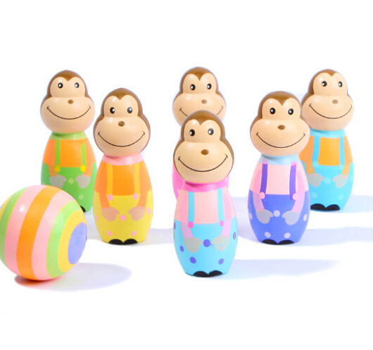 Mini Bowling Ball Kids Child Wooden Monkey& Pirate Bowling Toys 1Set=6Pins+1Ball(China (Mainland))