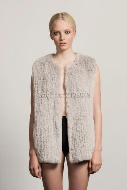 Fv006 женщины зима рукавов желеты настоящее кролика трикотажные жилеты
