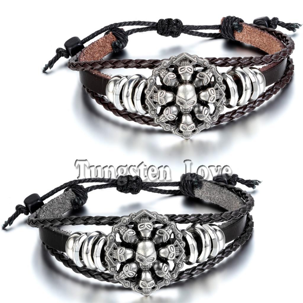 2015 Vintage Braided Charms Bracelet Bangles Punk Skull Skeleton Wristband Cuff Leather Bracelet For Men Adjustable(China (Mainland))