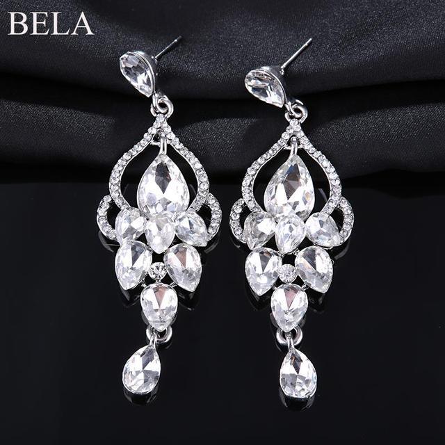 Модный изысканный CZ алмазов длинные серьги 18 К позолоченные роскошь капли воды кристалл мотаться для женщин WE2195