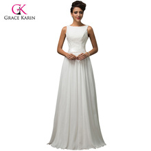 Buy Beach White Wedding Dresses 2017 Grace Karin Chiffon Low back Cheap vestido de noiva lace Long Bridal Wedding Gown 7560 for $60.22 in AliExpress store