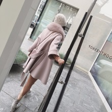Wool Coat Cashmere Jacket Women Winter and autumn girl Overcoat With Big real fox fur collar blends belt 2016 New(China (Mainland))