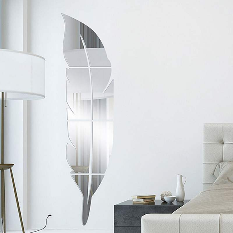 2016 New Design DIY Modern Feather Dressing Acrylic Mirror Stickers 3D Stereoscopic Entrance Room Decor(China (Mainland))