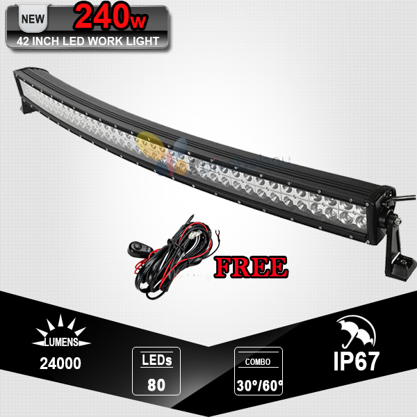42 Inch 240W Curved LED Light Bar Offroad 4x4 Spot Flood Beam LED Bar For Jeep Ford ATV SUV UTV 4WD Camper Truck Trailer 12V 24V(China (Mainland))