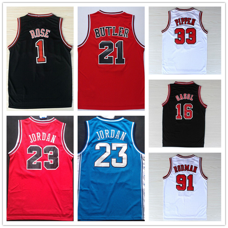 New 2016 #33 Retro Scottie Pippen Jersey Throwback,Stitched Logos Wholesale Cheap #1 Derrick Rose Basketball Jersey Black Red Wh(China (Mainland))