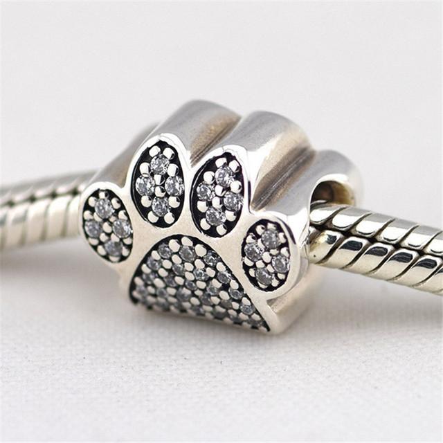 Предварительно - осень стиль S925 серебро изысканные Jewerly отпечатки лап бусины проложить ясно CZ подходит известный бренд очаровывает браслеты и ожерелье