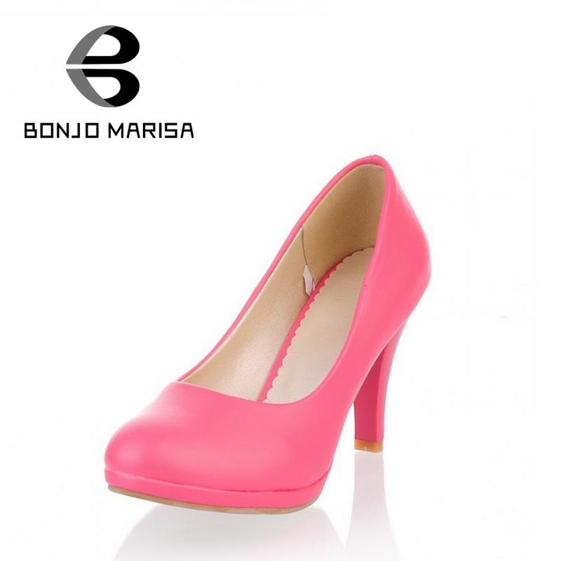 Euro Size 34-40 Pumps Office Lady Shoes Solid Round Toe Platform Shoes Women Thick High Heels 2015 New Med Heels