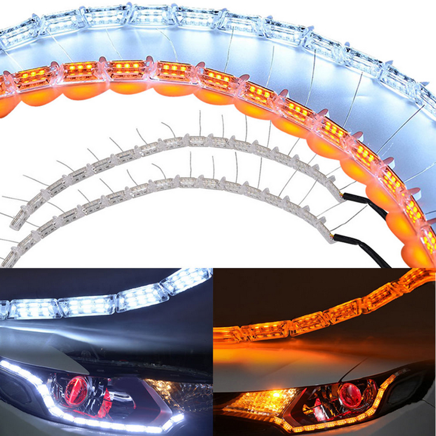 Free Shipping Universal Crystal Flexible Car LED DRL Daytime Running Light with Turn Signal Light White + Yellow Flowing Color(China (Mainland))
