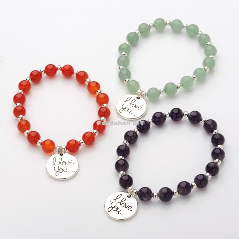 flat round with i love you natural stone beaded charm bracelets, with tibetan style alloy pendants, mixed stone, 52mm<br><br>Aliexpress
