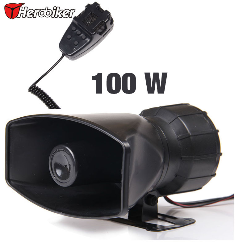 100 W Car horn Siren 5 Sound Horn Siren PA System 12V Warning Loud Megaphone +Mic Auto(China (Mainland))