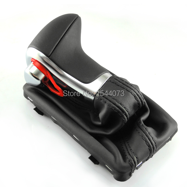 Фотография Chrome Black Leather Shift Knob fit for AUDI A3 A4 A4L A6 A6L A7 Q7 Q5 2009 2010 2011 2012