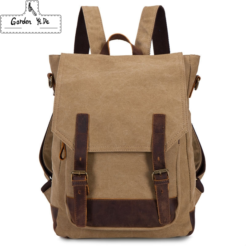 Large Designer Brand Causal Leather + Canvas Backpack School Bags For Teenagers Men's Laptop Bag Military Travel Bagpack(China (Mainland))