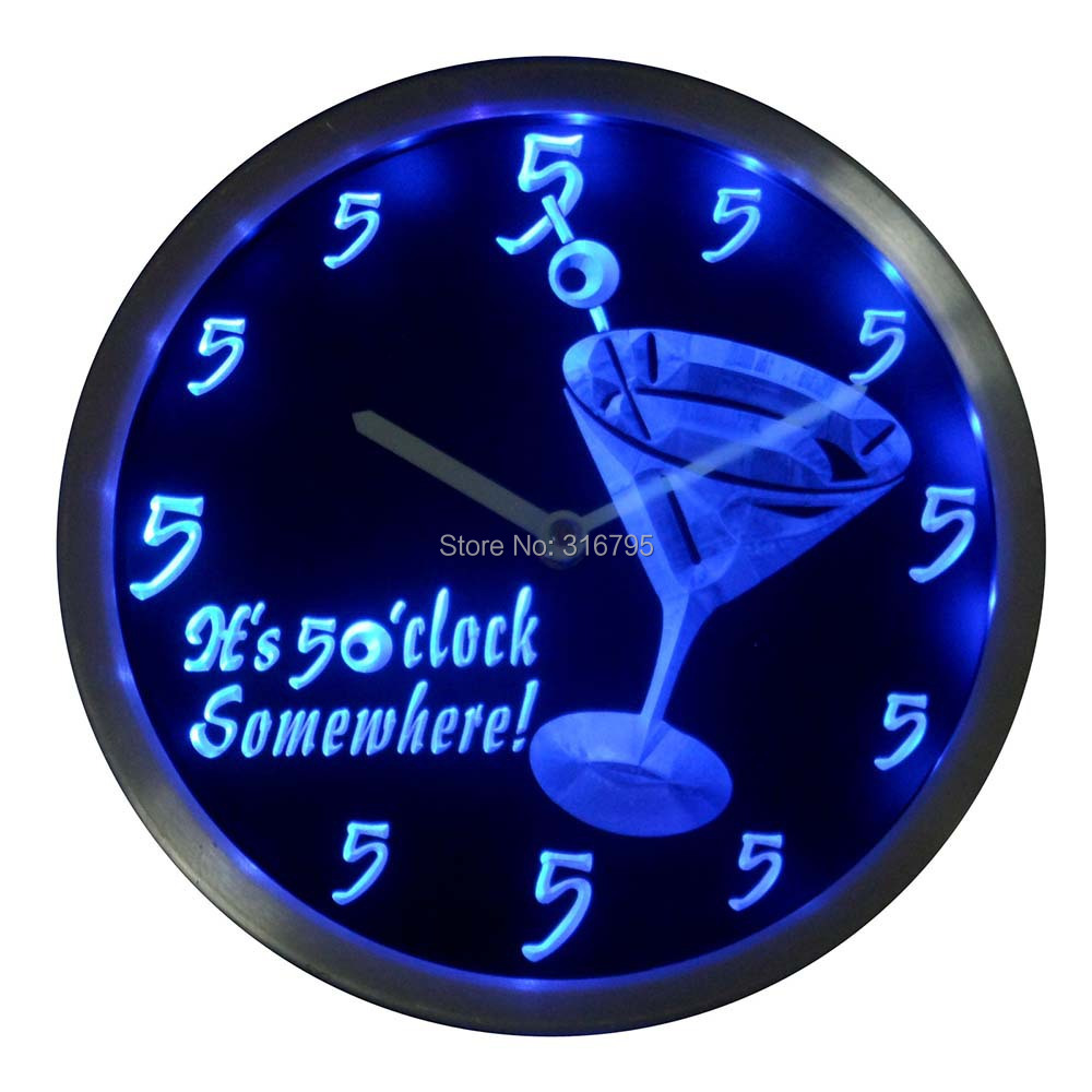nc0459 It's 5 O'clock pm Somewhere Cocktails Bar Beer gift Neon LED Wall Clock(China (Mainland))