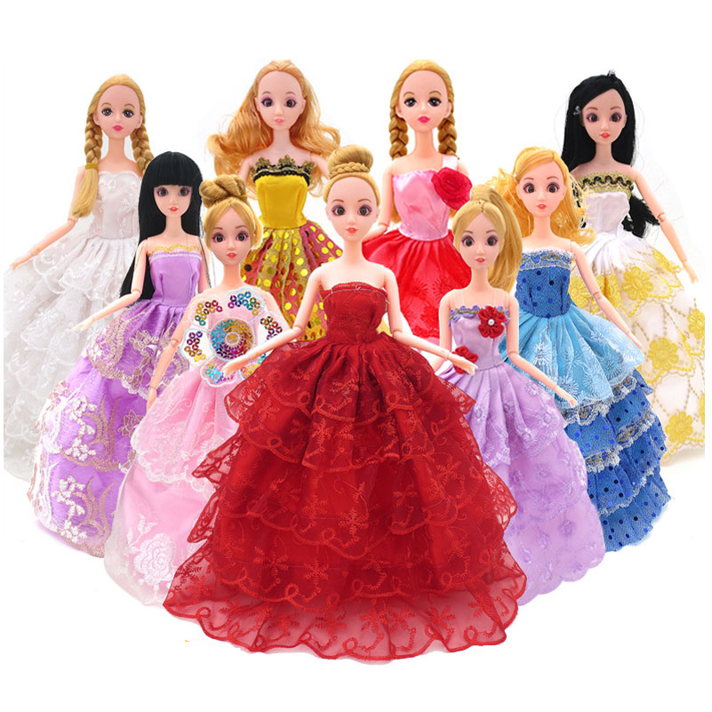 5 Pcs/set Fashion Doll Clothes Princess Wedding Dress Clothing Gown Outfit Clothes Doll Accessories Toys For girls Kid For Doll(China (Mainland))