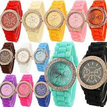 Ginebra silicona cristalina de oro de piedra de cuarzo para mujer / mujeres / jalea reloj de pulsera colores Candy 0E5G