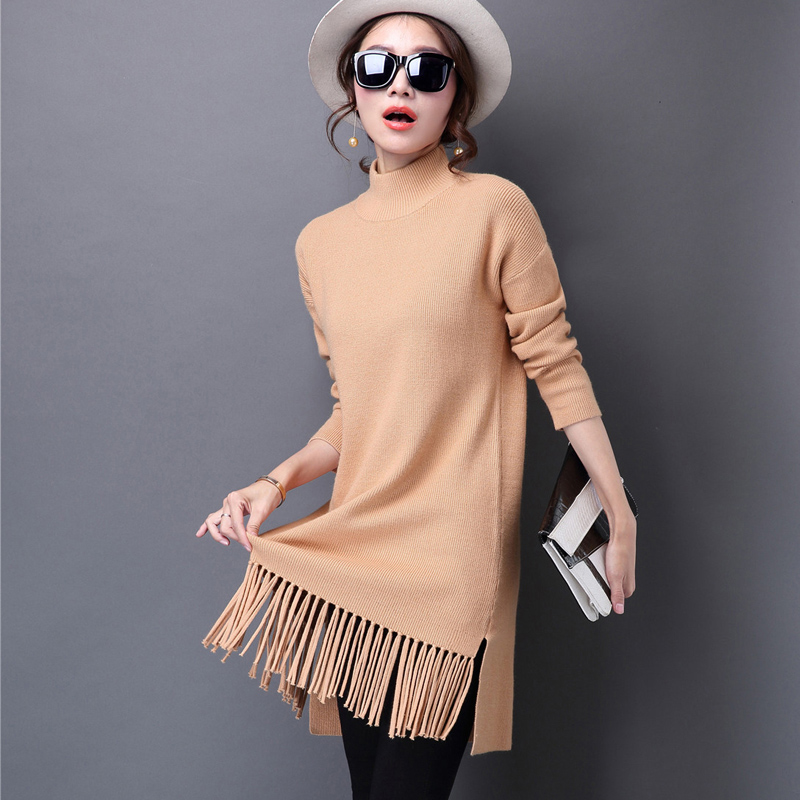 5Colors Hot Sale Sweaters Women Pullover Cashmere Knitted Long Tops Fashion Tassel Wool Sweater female Winter skirt Одежда и ак�е��уары<br><br><br>Aliexpress