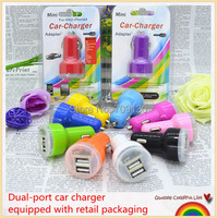 100set (100 Dual USB Port Car Charger+100 etail packaging)2.1A Colorful Car Charger with retail box For iPhone 6 5 4 for Samsung