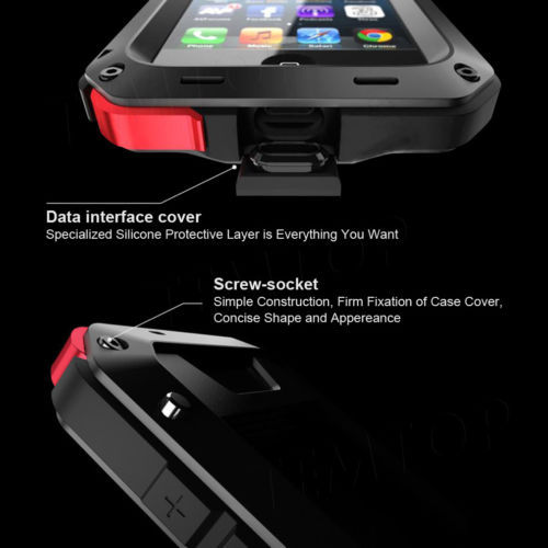 Life Waterproof Shock proof Aluminum Metal Combo Armor Cover Case Grorilla Glass For Apple iPhone 4g/4s 5g/5s 5c 6g 6 plus 5.5''(China (Mainland))