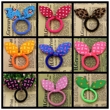 10 Colors Super Cute Rabbit Ears Hair Holders Hair Accessories Child Girl Women Print Point Monkey Rubber Bands Free Shipping(China (Mainland))