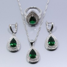 Water Drop Green Zircon White Zircon Jewelry Sets 925 Silver Earrings Ring Necklace Pendant For Women JS235(China (Mainland))
